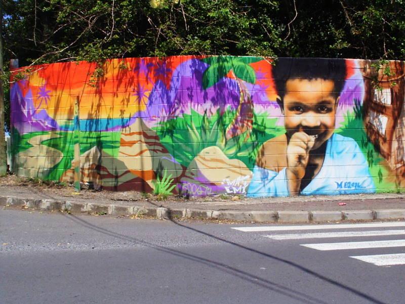 fresque murale, quartier ravine blanche